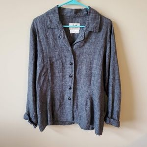 FLAX by Jeanne Engelhart Linen Button Down Top